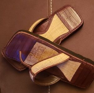 Shoes - Cole haan leather wicker sandals' Rare'